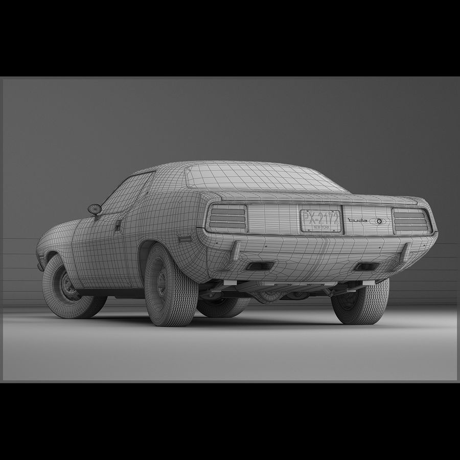 Plymouth Hemi Cuda 1970 royalty-free 3d model - Preview no. 14