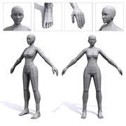 Malla de base de polietileno baja femenina modelo 3d