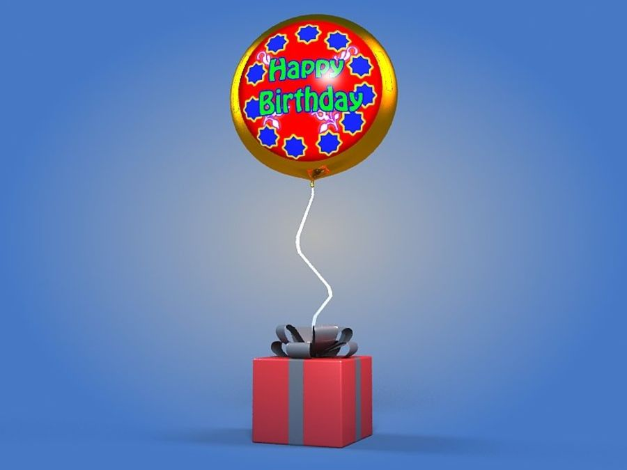 Birthday Balloon royalty-free 3d model - Preview no. 1