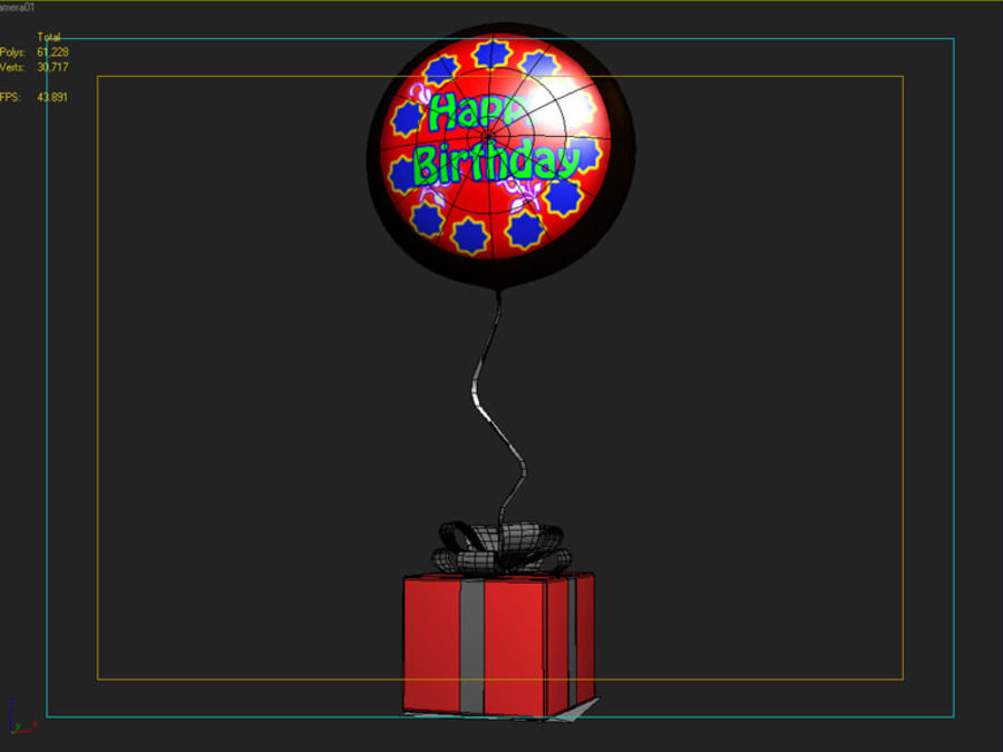 Birthday Balloon royalty-free 3d model - Preview no. 6