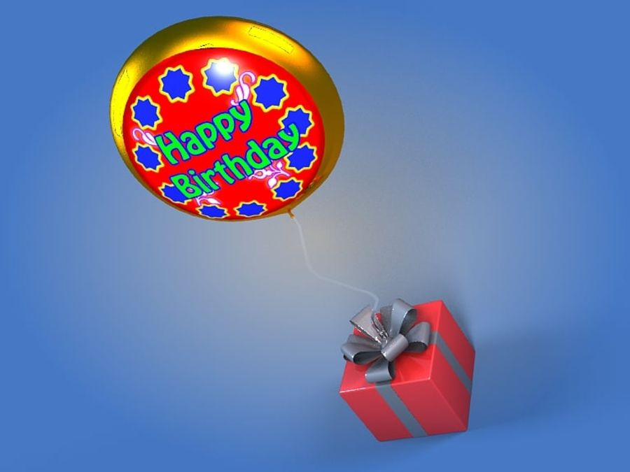 Birthday Balloon royalty-free 3d model - Preview no. 2