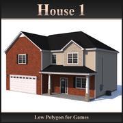 Dom o niskim wielokącie 1 3d model