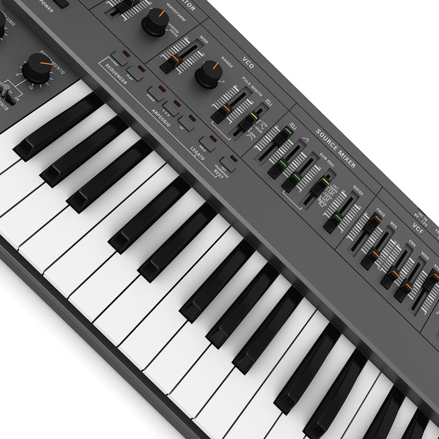Keyboard Synthesizer royalty-free 3d model - Preview no. 3