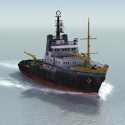 Bateau remorqueur océanique 3d model