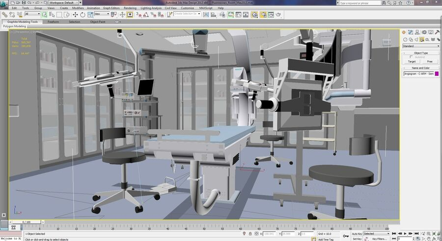 Surgery Room with Angiogram C-Arm royalty-free 3d model - Preview no. 4