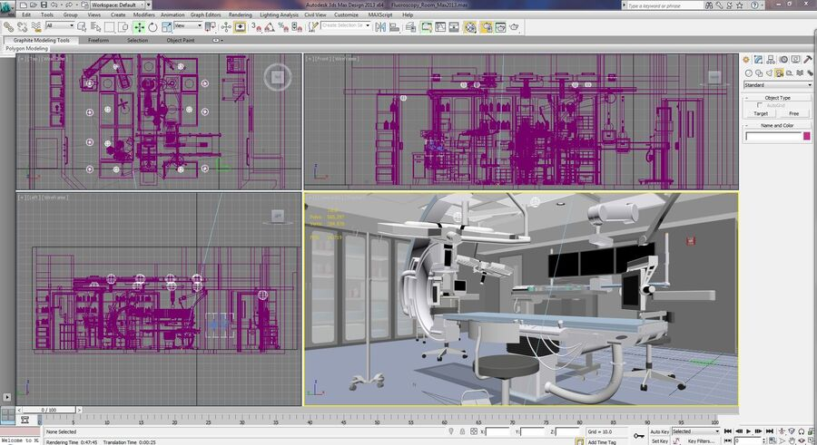Surgery Room with Angiogram C-Arm royalty-free 3d model - Preview no. 3