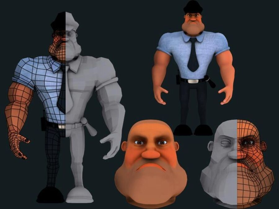 警察人 royalty-free 3d model - Preview no. 5