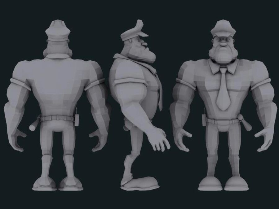 警察人 royalty-free 3d model - Preview no. 3