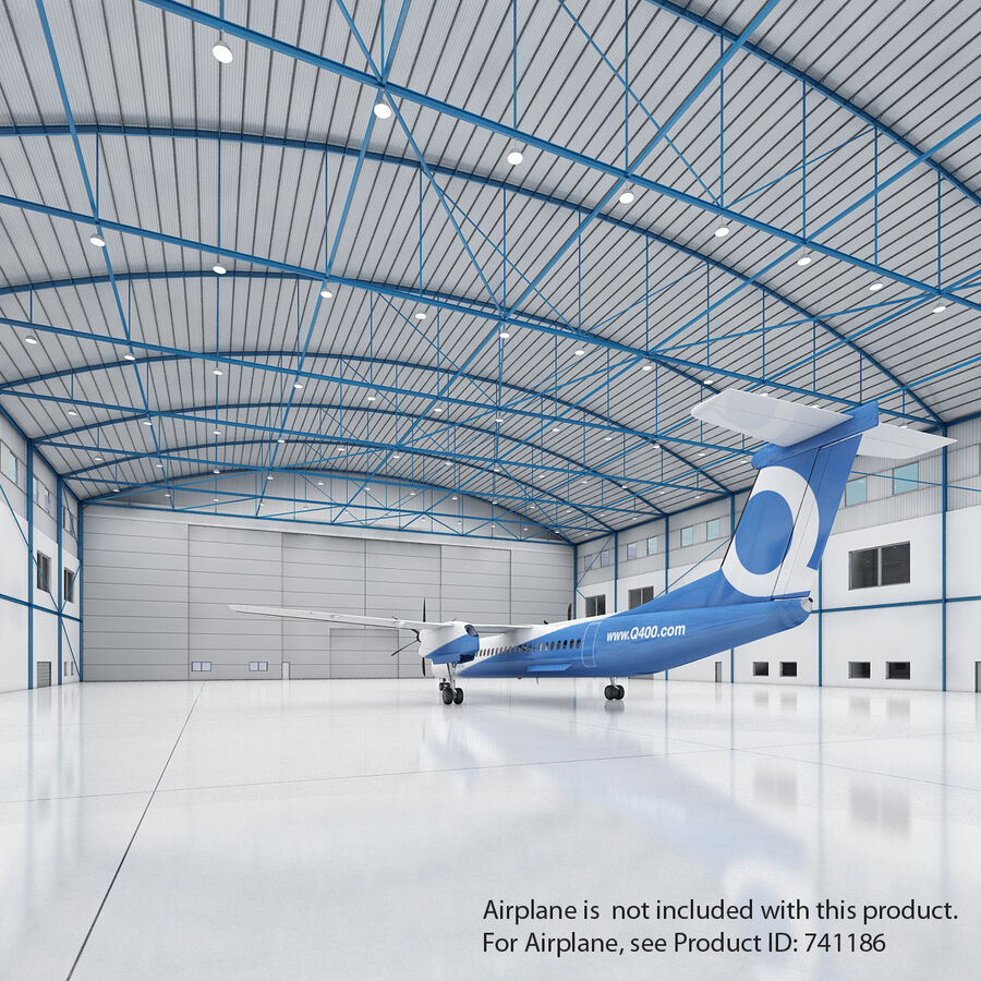 Ангар для самолетов 01 royalty-free 3d model - Preview no. 3