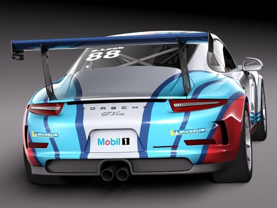 Porsche 911 GT3 Cup 2013 Martini royalty-free 3d model - Preview no. 6