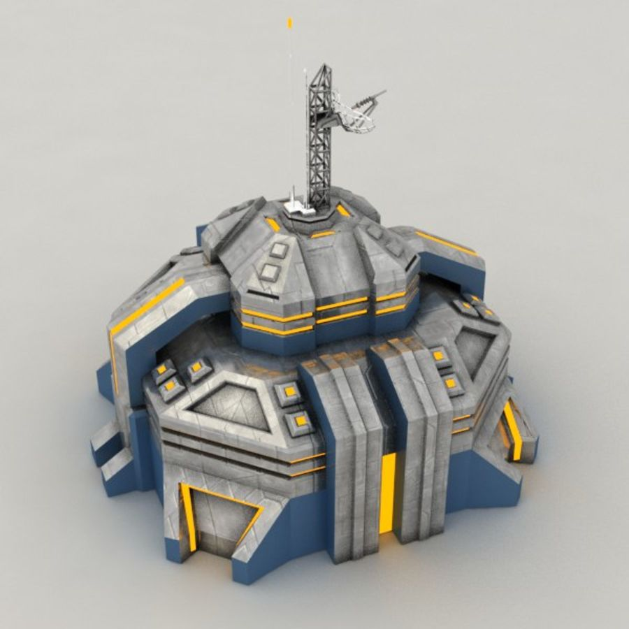 Command center v.2 sci-fi building royalty-free 3d model - Preview no. 5