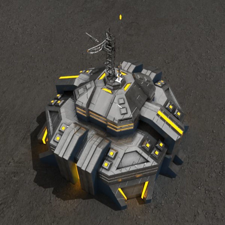 Command center v.2 sci-fi building royalty-free 3d model - Preview no. 2