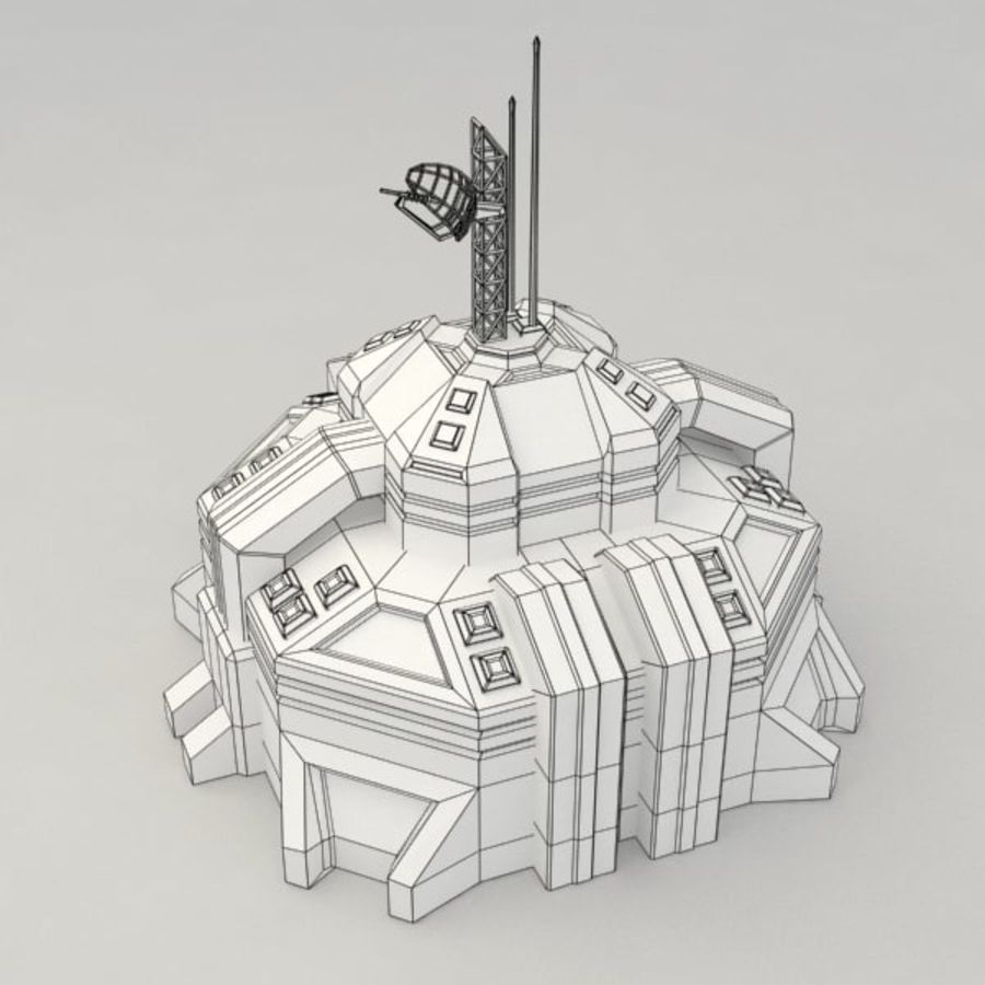 Command center v.2 sci-fi building royalty-free 3d model - Preview no. 7