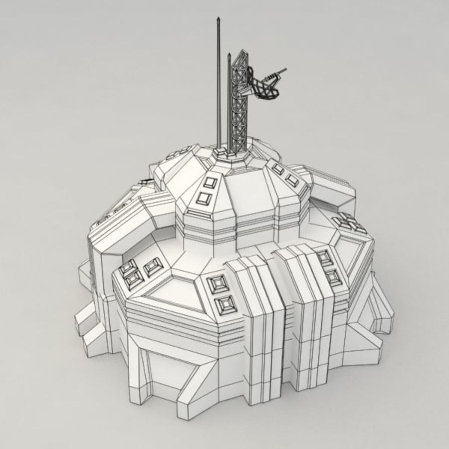 Command center v.2 sci-fi building royalty-free 3d model - Preview no. 6