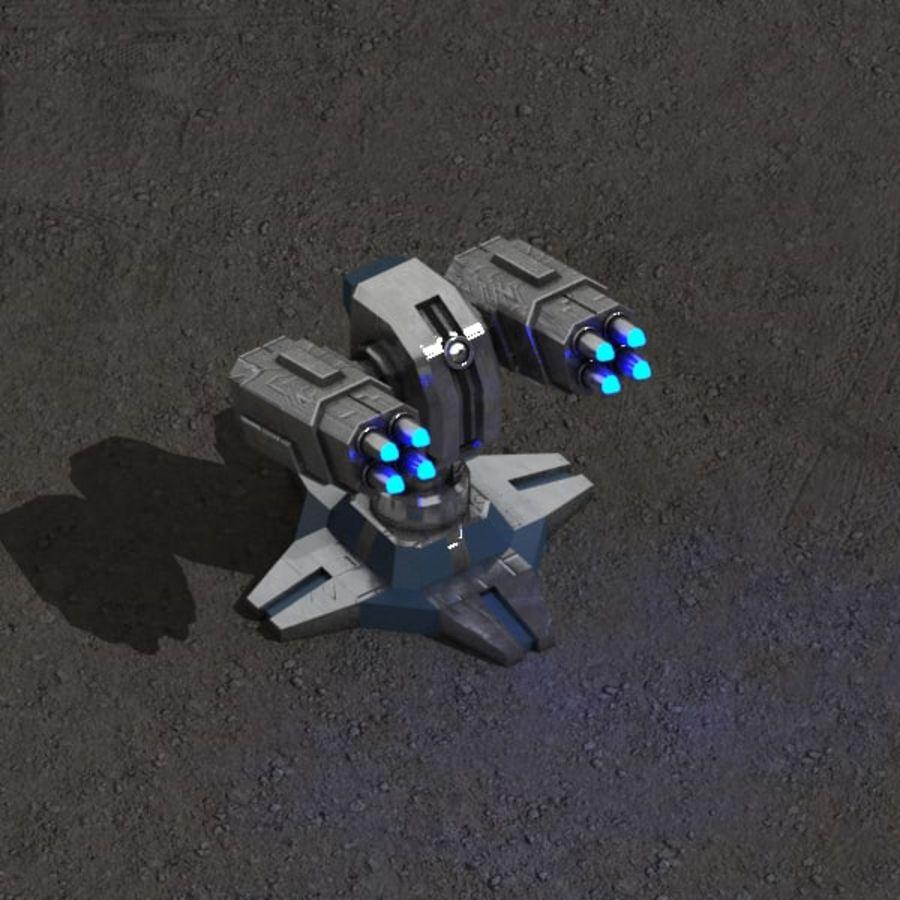 Bâtiment de science-fiction de défense aérienne royalty-free 3d model - Preview no. 4