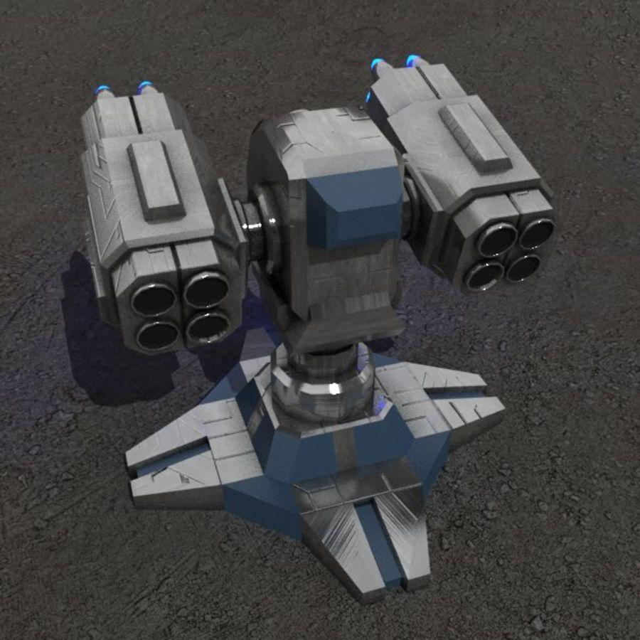 Bâtiment de science-fiction de défense aérienne royalty-free 3d model - Preview no. 2