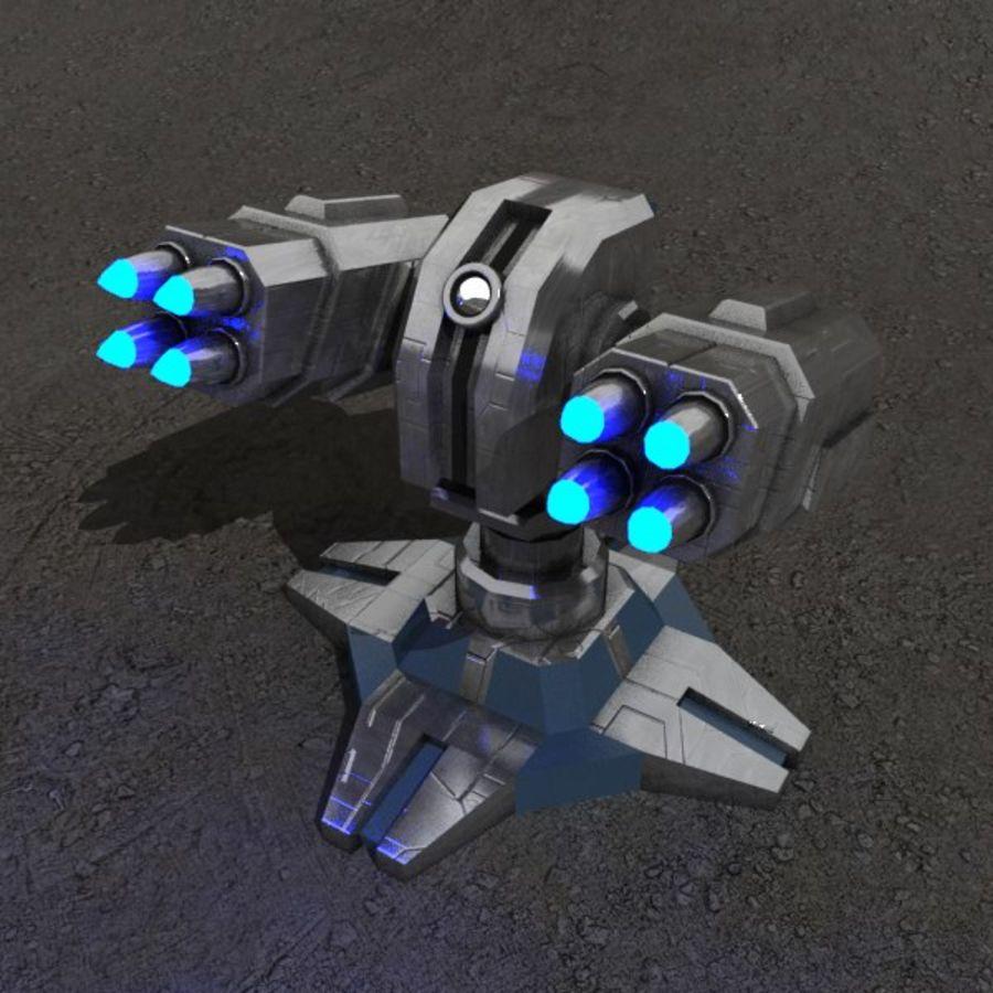 Bâtiment de science-fiction de défense aérienne royalty-free 3d model - Preview no. 1