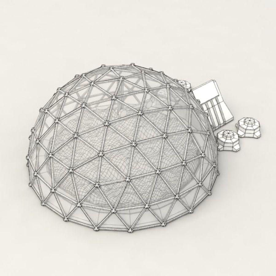 Edificio de ciencia ficción de la biosfera. royalty-free modelo 3d - Preview no. 7
