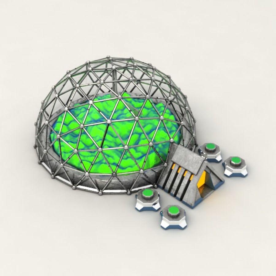 Edificio de ciencia ficción de la biosfera. royalty-free modelo 3d - Preview no. 4