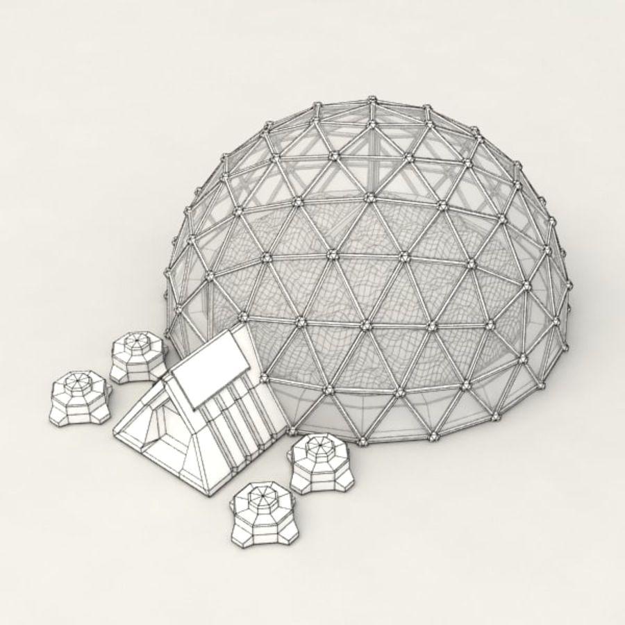 Edificio de ciencia ficción de la biosfera. royalty-free modelo 3d - Preview no. 6