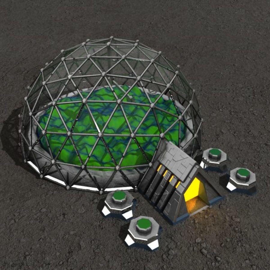 Edificio de ciencia ficción de la biosfera. royalty-free modelo 3d - Preview no. 1