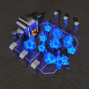 Budynek science-fiction kopalni kryształów 3d model