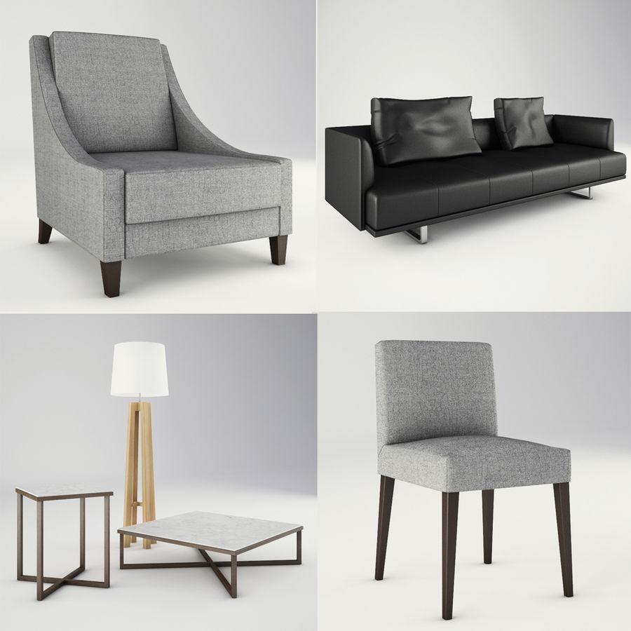 Lounge zachte stoelen en meubels royalty-free 3d model - Preview no. 1