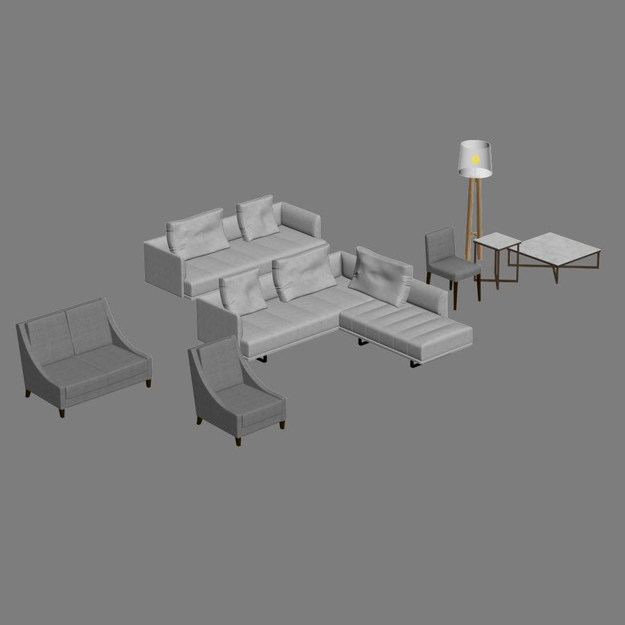 Lounge zachte stoelen en meubels royalty-free 3d model - Preview no. 2