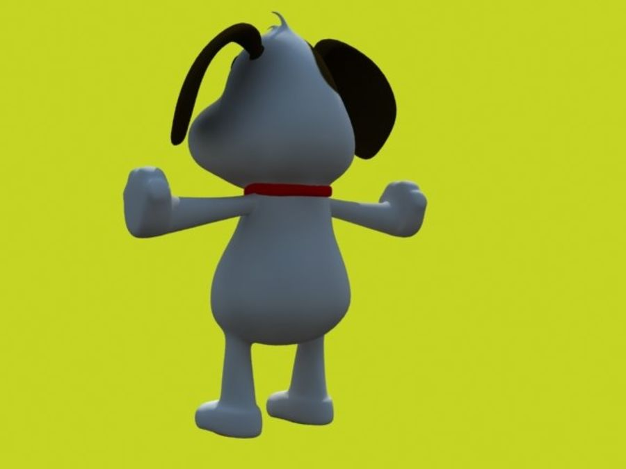 pies kreskówka z akcesoriami royalty-free 3d model - Preview no. 3