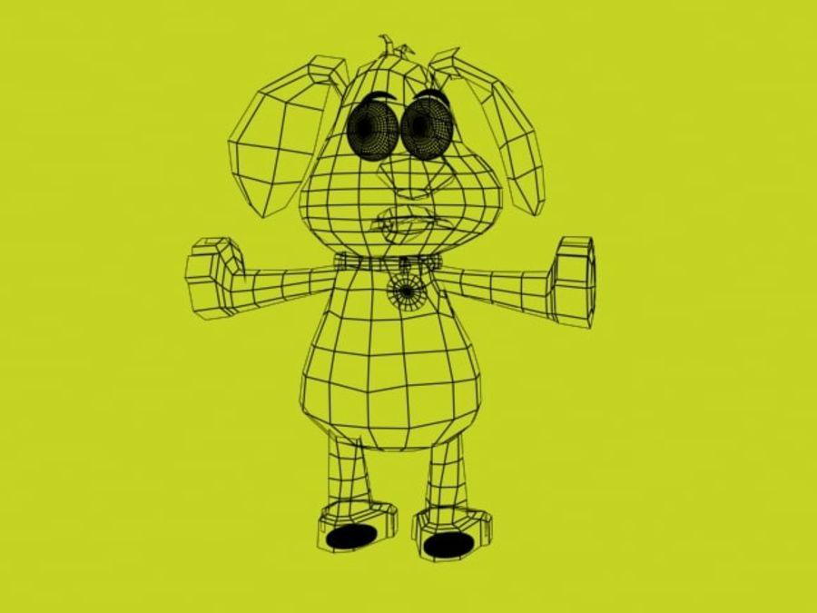 pies kreskówka z akcesoriami royalty-free 3d model - Preview no. 6
