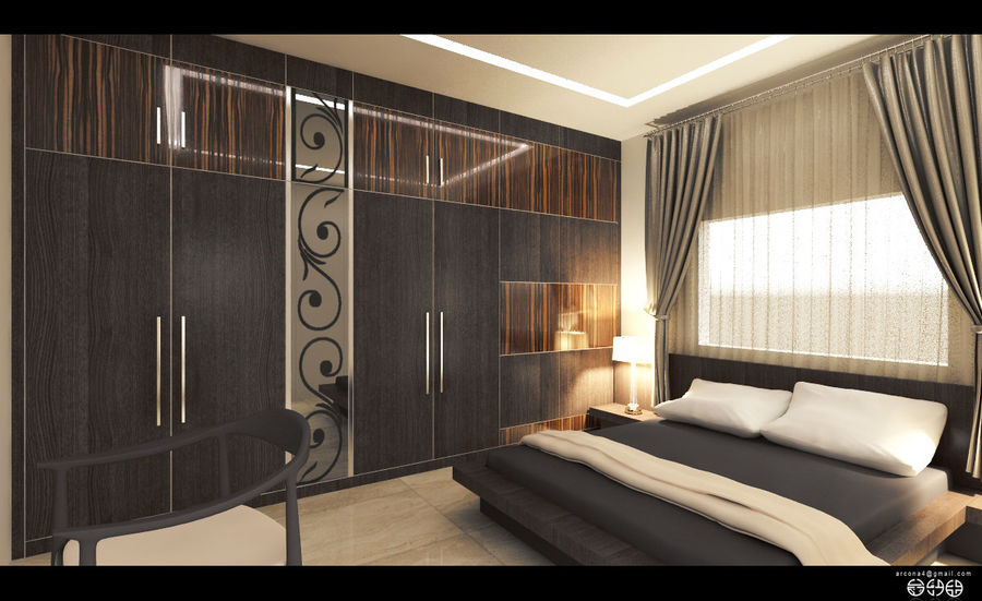 modern bedroom royalty-free 3d model - Preview no. 4