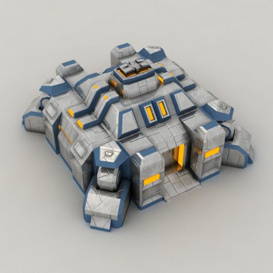 Command center v.3 sci-fi building royalty-free 3d model - Preview no. 4