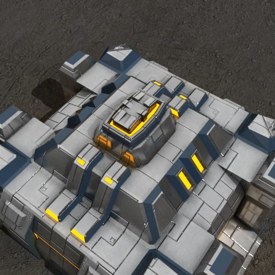 Command center v.3 sci-fi building royalty-free 3d model - Preview no. 3