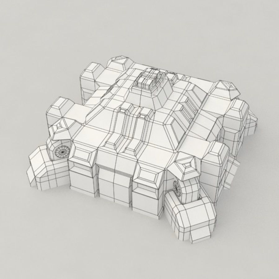 Command center v.3 sci-fi building royalty-free 3d model - Preview no. 6