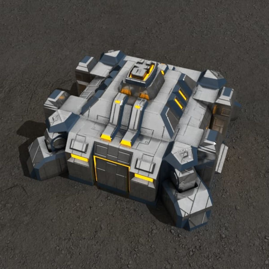 Command center v.3 sci-fi building royalty-free 3d model - Preview no. 2