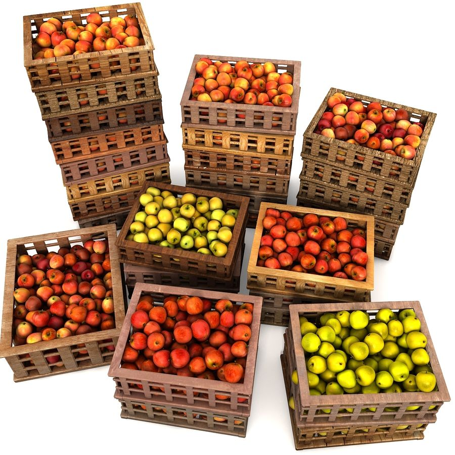 Apple Market Wood Crates royalty-free 3d model - Preview no. 2