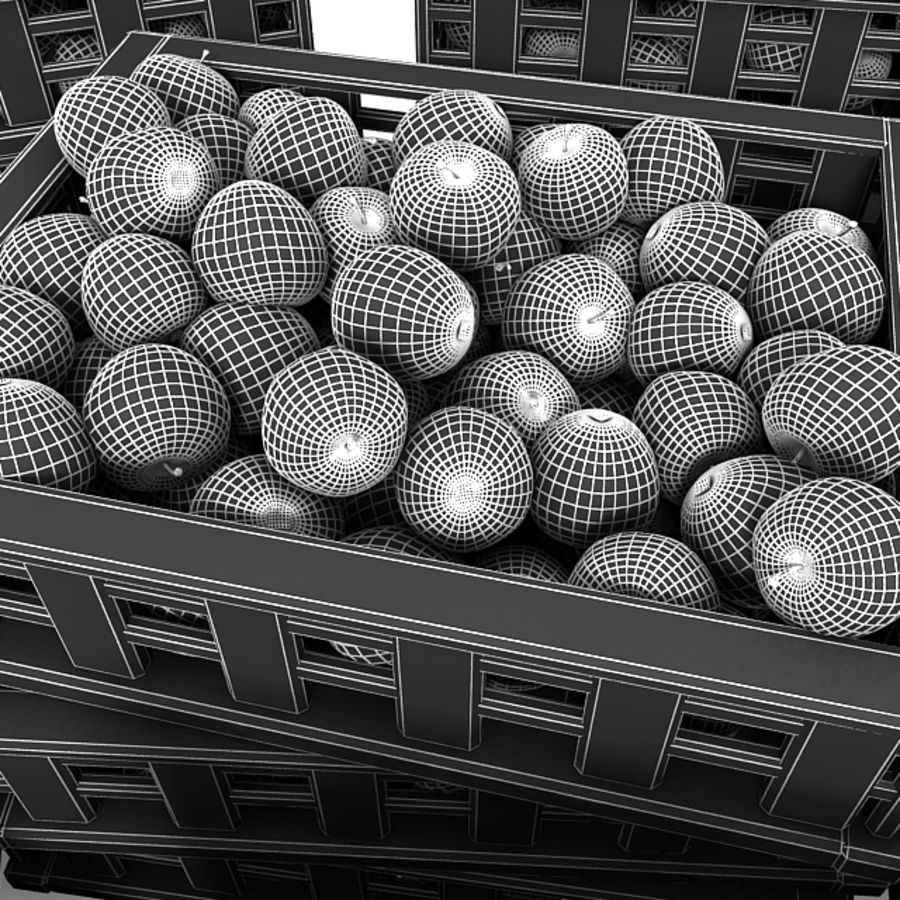 Apple Market Wood Crates royalty-free 3d model - Preview no. 24
