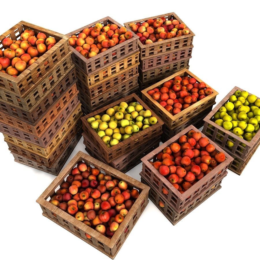 Apple Market Wood Crates royalty-free 3d model - Preview no. 9