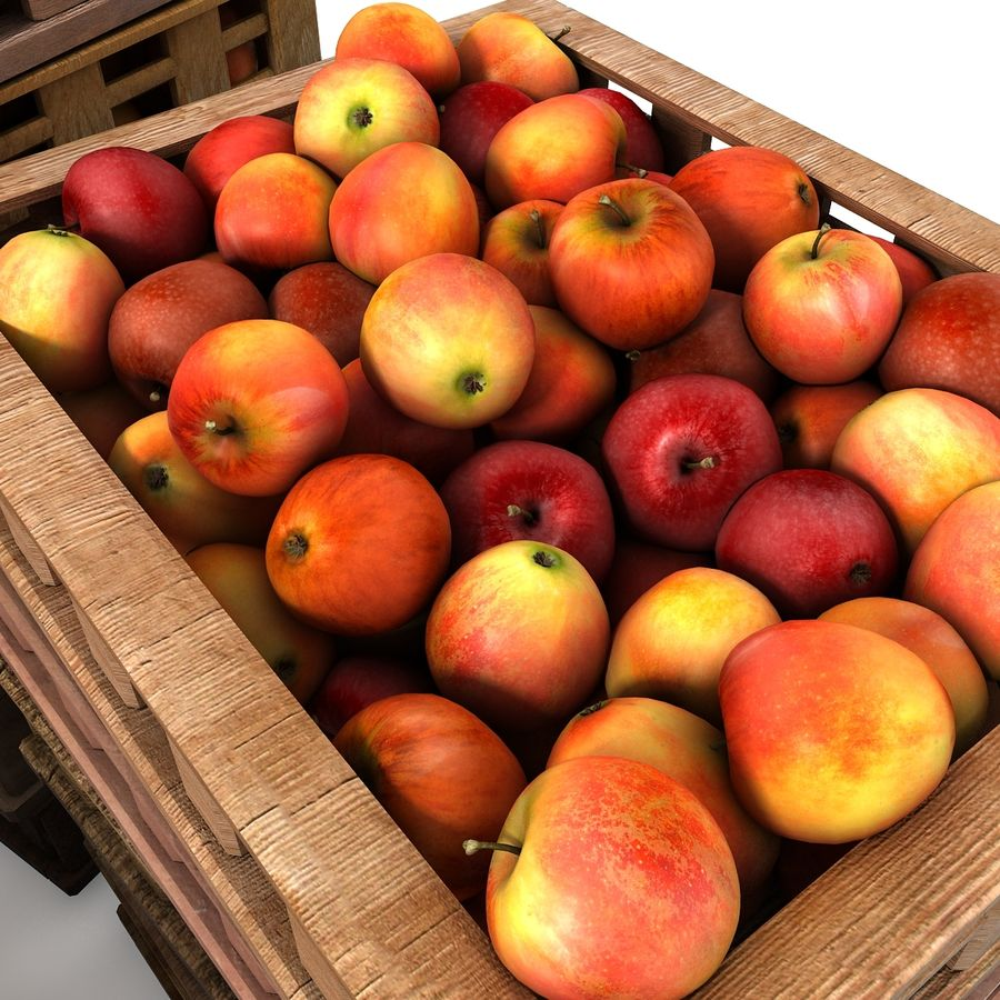 Apple Market Wood Crates royalty-free 3d model - Preview no. 6