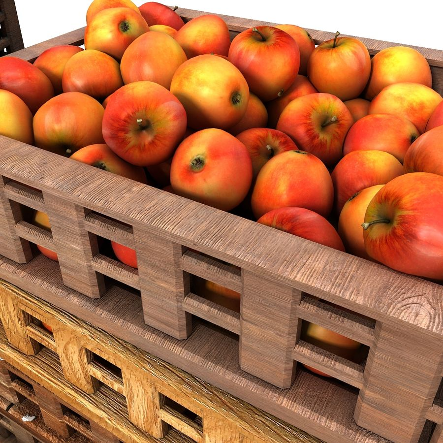 Apple Market Wood Crates royalty-free 3d model - Preview no. 11
