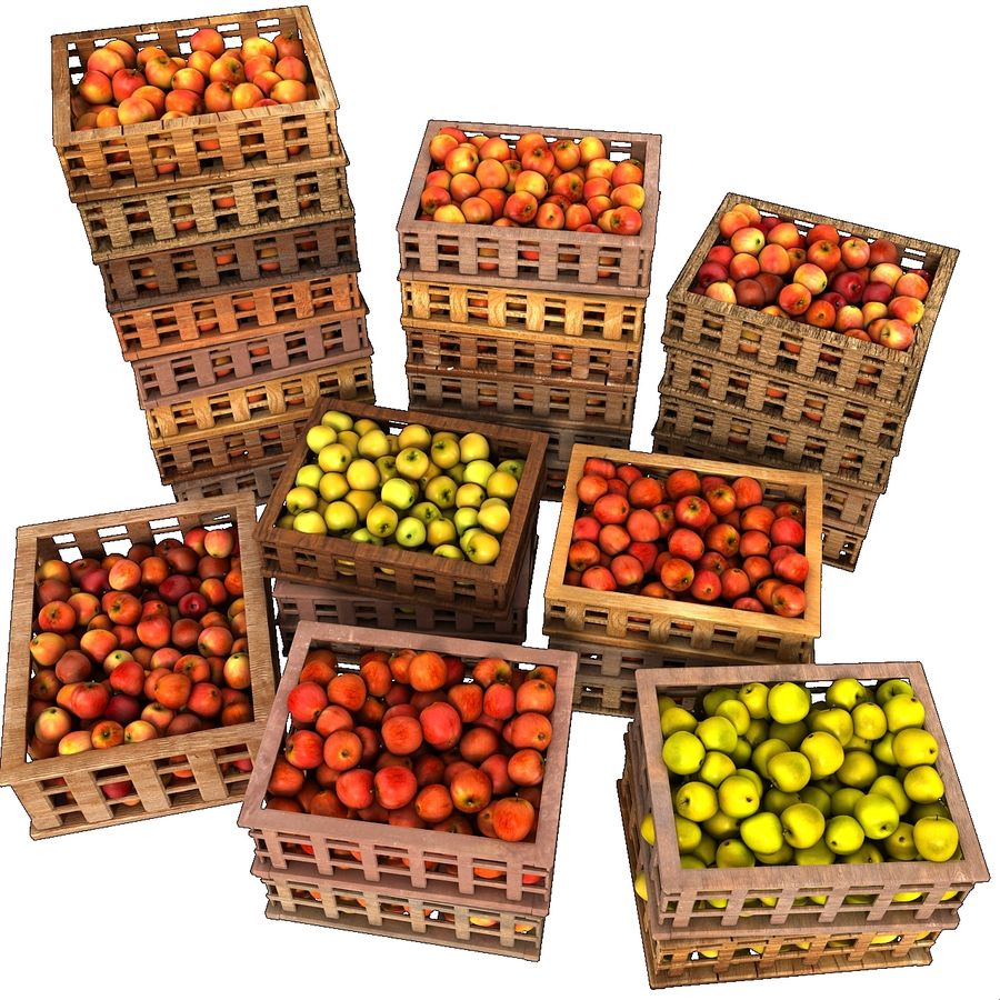Apple Market Wood Crates royalty-free 3d model - Preview no. 7