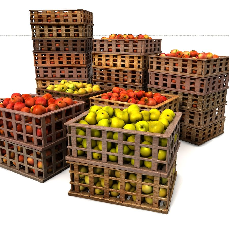 Apple Market Wood Crates royalty-free 3d model - Preview no. 20