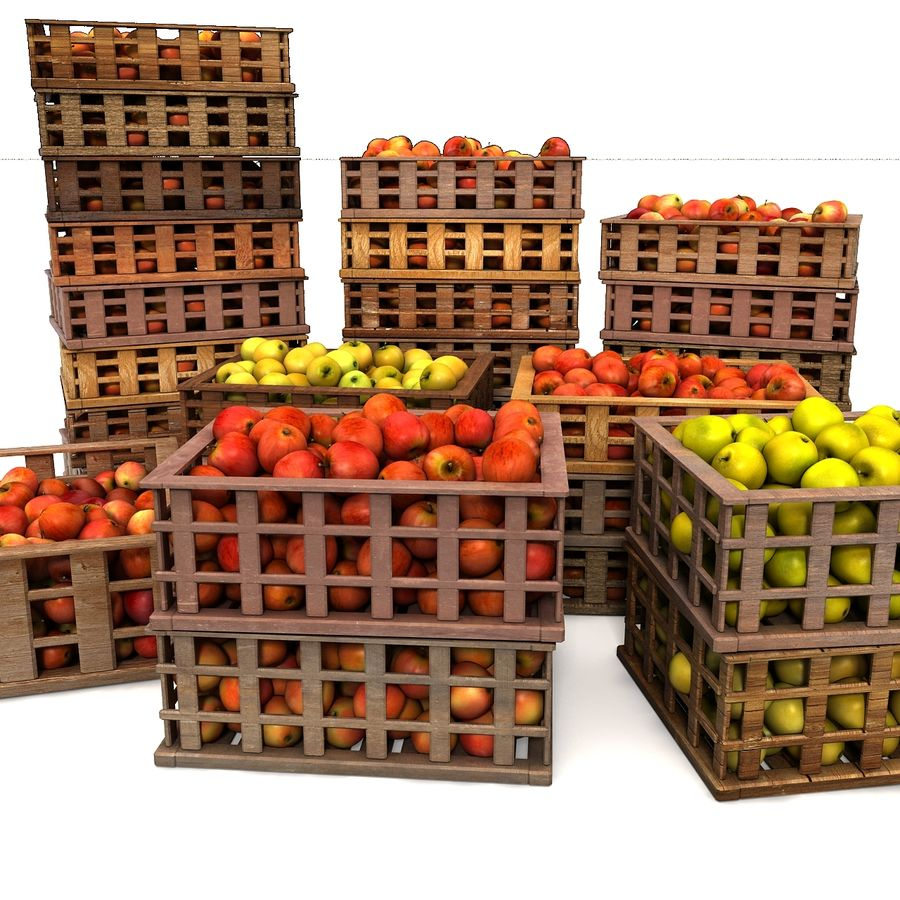 Apple Market Wood Crates royalty-free 3d model - Preview no. 19