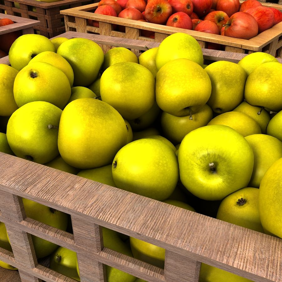 Apple Market Wood Crates royalty-free 3d model - Preview no. 10