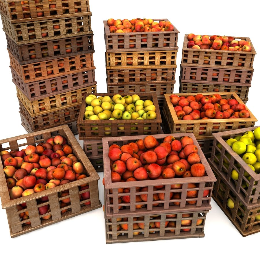Apple Market Wood Crates royalty-free 3d model - Preview no. 3
