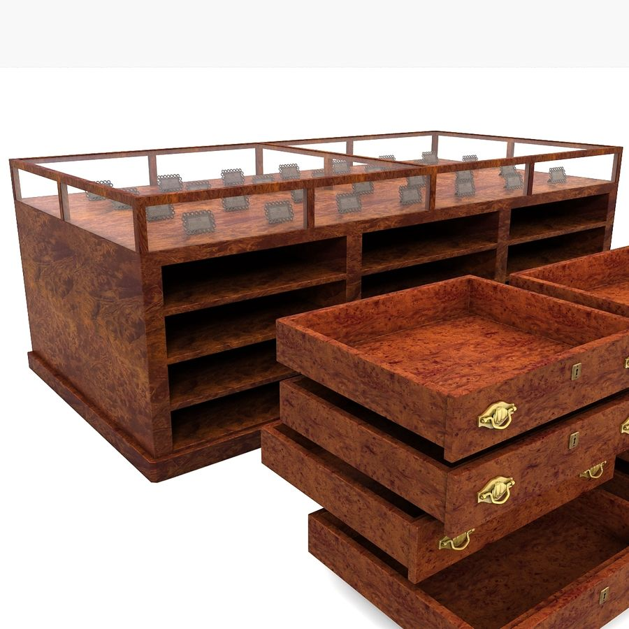 Luxurious Jewelry Shop Display Case royalty-free 3d model - Preview no. 14