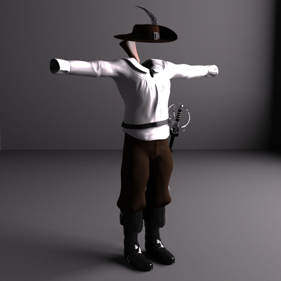 Musketeer Accessories royalty-free 3d model - Preview no. 5