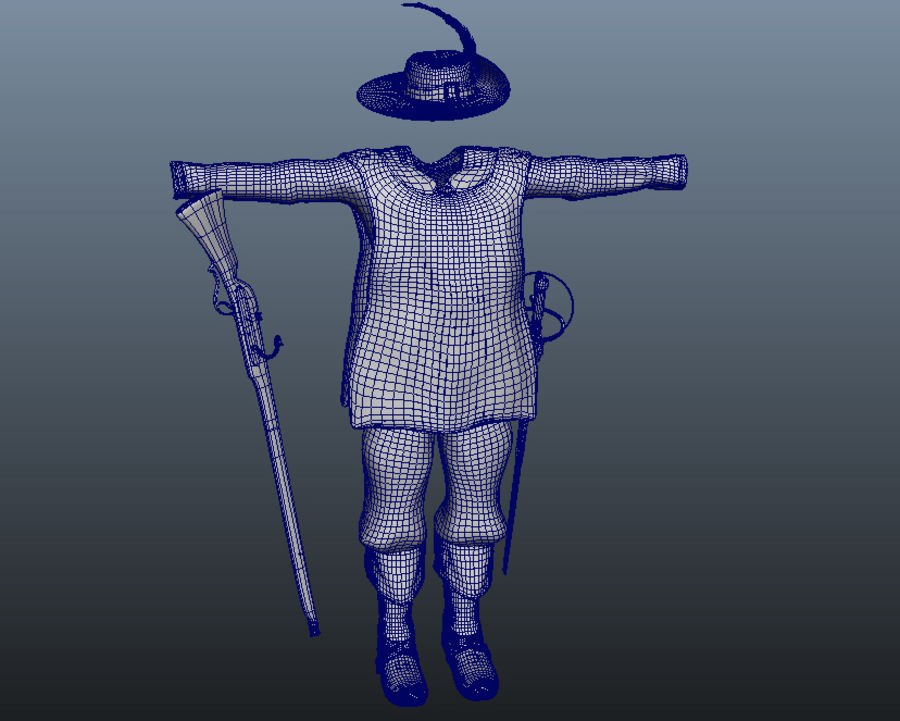 Musketeer Accessories royalty-free 3d model - Preview no. 10