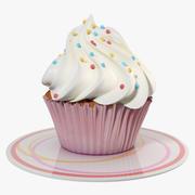 クリームと小さなケーキ 3d model