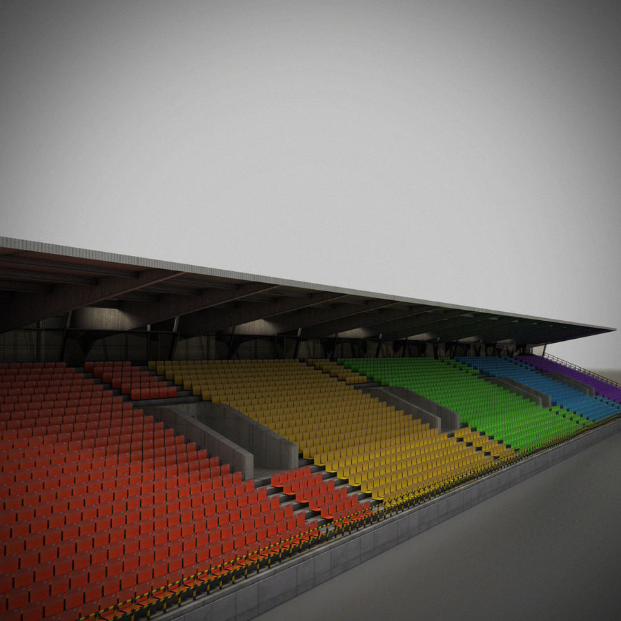 Stadium Lights C4d: Stadium Auditorium-track Grandstand 3D Model $39